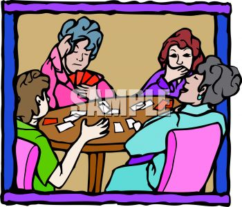 Group of Ladies Playing Cards
