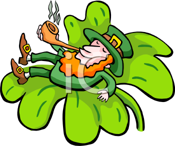 Leprechaun Lounging on a Shamrock with His Pipe