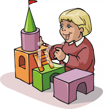 Child Building a Castle From Wooden Blocks