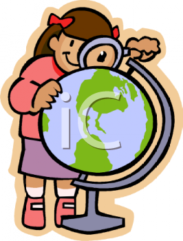Schoolgirl Looking at a Globe with a Magnifying Lens
