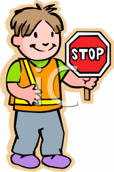 School Crossing Guard Holding a Stop Sign