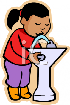 royalty free clip art image: little black girl drinking at a school