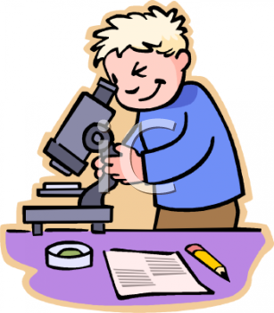 Royalty Free Clipart Image: Boy Using a Microscope in Class