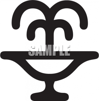 Black And White Water Icon Decorative Fountain Royalty Free Clip
