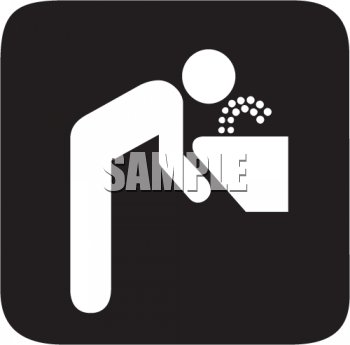 Black and White Water Icon-Person Drinking from a Fountain with Black Background