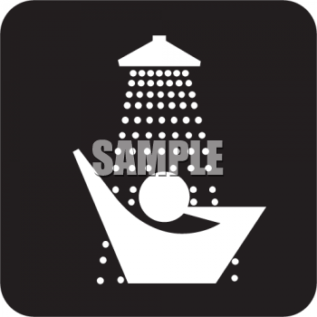 Black and White Water Icon-Person in the Shower