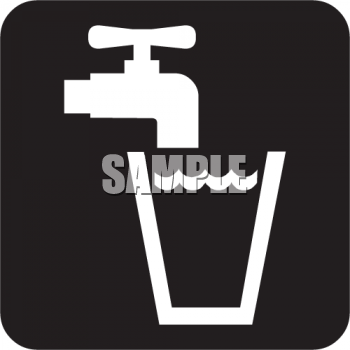 Black and White Water Icon-Faucet with a Glass of Water