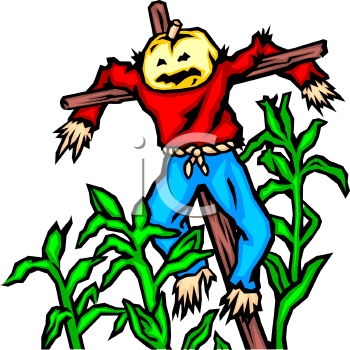 "This ""pumpkin head scarecrow in a field of corn"" clipart image is available"