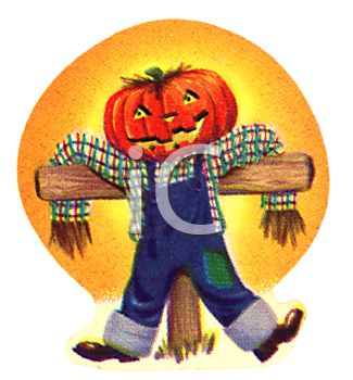 Vintage Picture of a Pumpkinhead Scarecrow