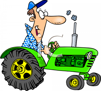Cartoon of a Man Riding a Tractor