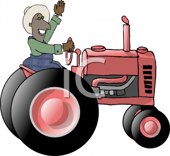 African American Farmer Riding a Tractor