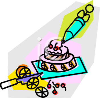 Cake Icing Clip Art : Frosted Layer Cake with an Icing Syringe - Royalty Free ...