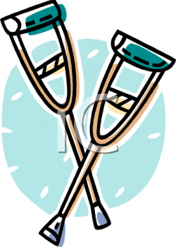 Wooden Underarm Crutches - Royalty Free Clip Art Image