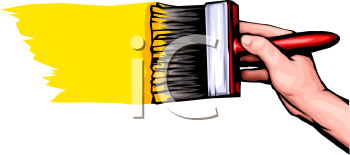 royalty free clip art image hand using a paintbrush