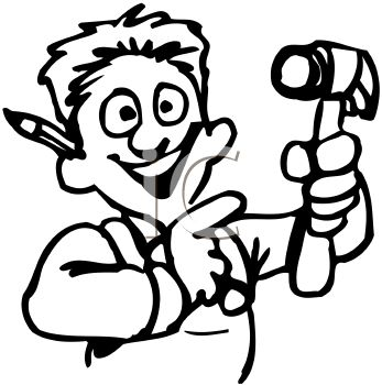 "This ""man holding a hammer"" clipart image can be licensed as part of a"