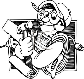 royalty free clip art image handyman holding a bunch of tools