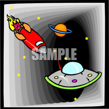 Saturn, a Rocket and a Flying Saucer