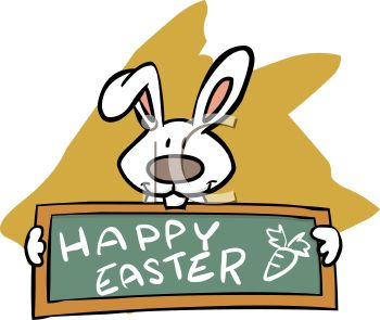 White Rabbit Holding a Chalkboard with a Happy Easter Message