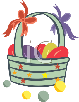 Plastic Eggs in an Easter Basket