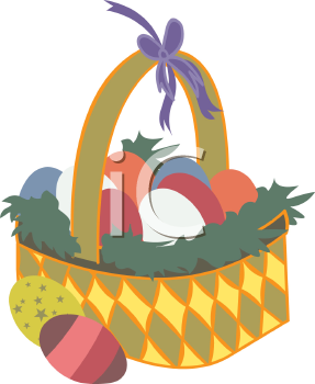 Easter Eggs Nestled in Grass in a Basket