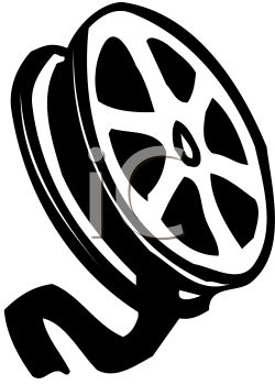Black and white film reel royalty free clipart image