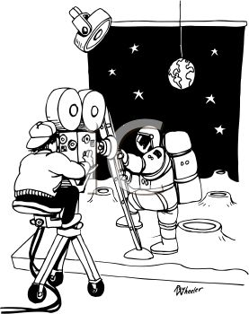 Black and White Cartoon of a Camerman Making a Movie About the Moon