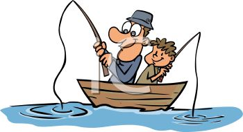 Father and Son Fishing in a Rowboat