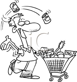 Royalty Free Clipart Image Man Grocery Shopping