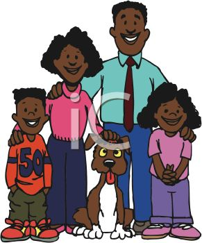 African American Family with Their Dog - Royalty Free Clip Art Picture