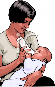 African American Woman Feeding a Bottle to Her Baby