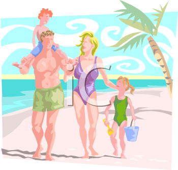 Royalty Free Clipart Image Family On A Beach Vacation