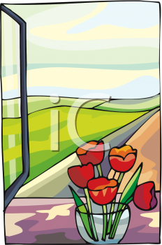 Spring Tulips in a Vase on a Windowsill