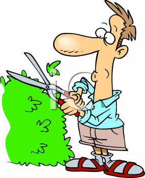 royalty free clip art image guy trimming his yard hedges rh clipartguide com
