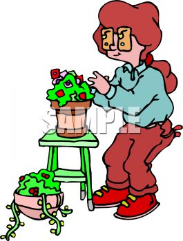 Woman Planting Houseplants