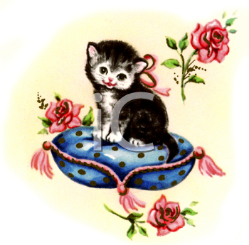 Kitty on a Cushion with Roses