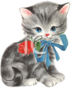Striped Kitten with a Rose In It's Mouth