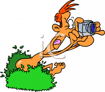 Cartoon of a Naked Man Sneaking Out of the Bushes with a Camera