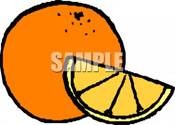 Whole Orange with a Wedge of Orange