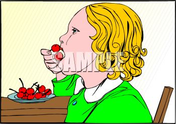 Little Girl Eating Cherries