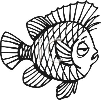 "This ""black and white-sleepy cartoon fish"" clipart image is available"