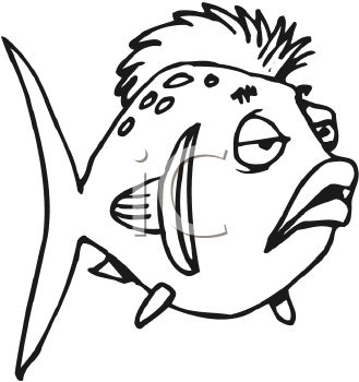 Black and White-Cartoon Fish with a Mohawk