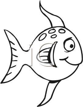 Black and White-Funny Cartoon Fish