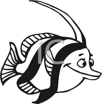 Black and White-Cartoon Fish