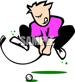 Angry Golfer Royalty Free Clip Art Illustration