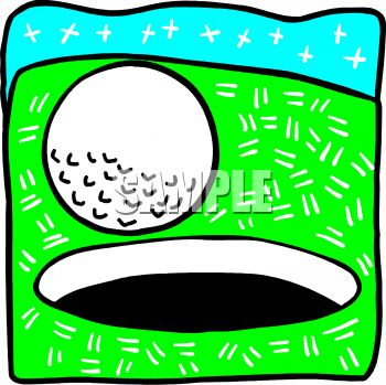 "This ""golf ball rolling into the hole"" clipart image is available through a"