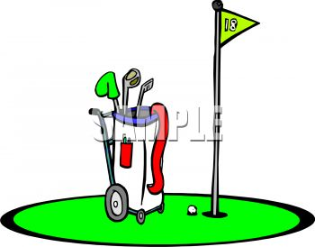 royalty free clip art image golf bag at the 18th hole rh clipartguide com