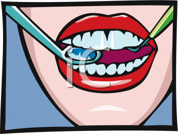 Woman's Mouth with Dental Pick and Mirror