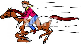 Mustang Horse Running Fast with Cowboy