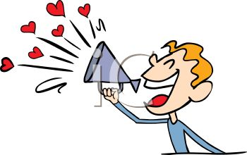Boy Announcing His Love Into a Megaphone