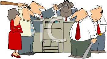 Group of Mad Office Workers Hitting a Faulty Copy Machine